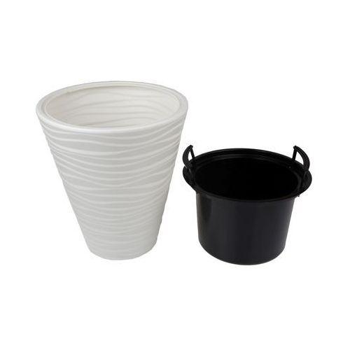 Doniczka plastikowa 30 cm biała SAHARA (5907474343471)