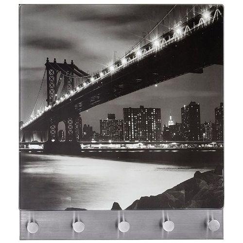 Szklana tablica magnetyczna na notatki + 5 wieszaków, Manhattan Bridge, WENKO