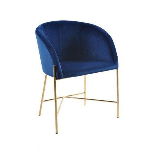 Fotel Nelson złota podstawa - niebieski