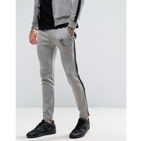 Gym King Track Skinny Joggers In Grey With Black Stripe - Grey, 1 rozmiar