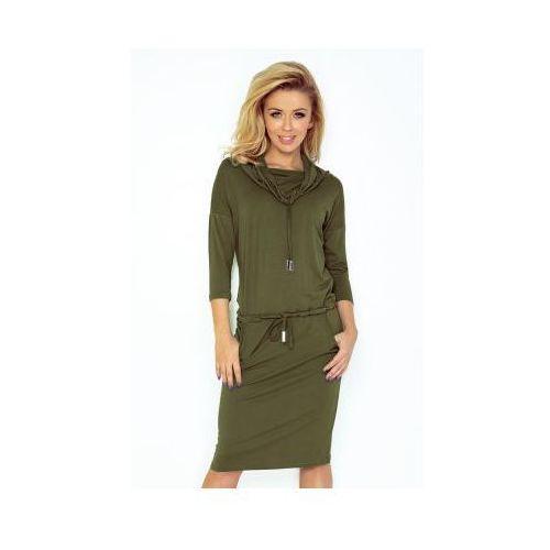44-18 Sukienka sportowa z golfem - KHAKI, kolor zielony