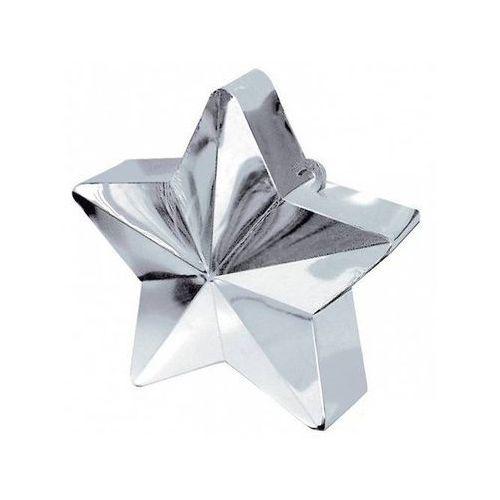 Amscan Obciążnik ciężarek do balonów napełnionych helem - gwiazda srebrna - 170 g. (0048419246909)