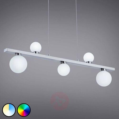 Trio leuchten dicapo lampa wisząca led nikiel matowy, 5-punktowe, zdalne sterowanie, zmieniacz kolorów - nowoczesny - obszar wewnętrzny - dicapo - czas dostawy: od 3-6 dni roboczych