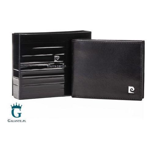Czarny portfel męski z metalowym logo ys507.7 8806 marki Pierre cardin