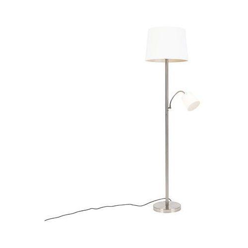 Klasyczna lampa podłogowa stal biały klosz z elastycznym ramieniem - retro marki Qazqa