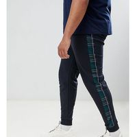 ASOS DESIGN plus skinny joggers in check print with side stripe - Black, w 2 rozmiarach