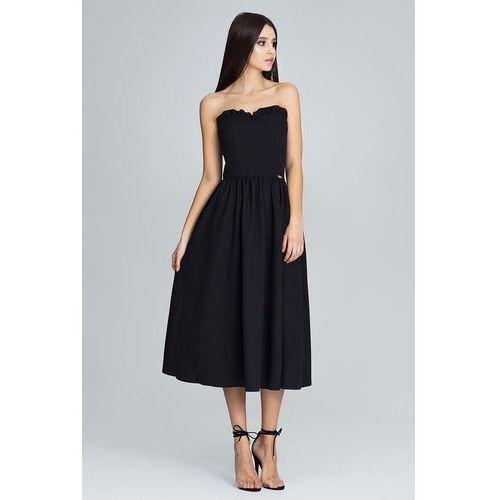 czarna Wieczorowa Midi Sukienka Gorsetowa z Falbankami