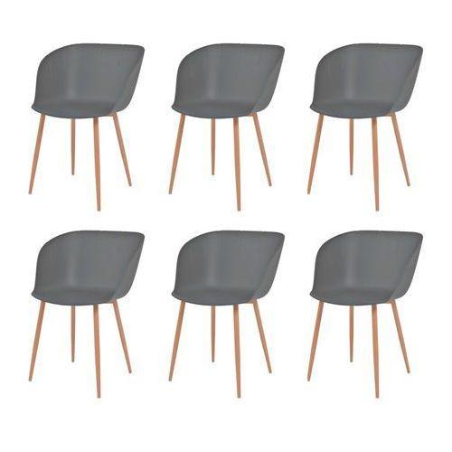 vidaXL Komplet 6 krzeseł, szare, plastikowe siedziska i stalowe nogi, kolor szary