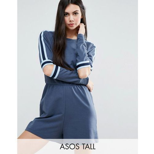 ASOS TALL Contrast Stripe Playsuit With Cut Out Elbows - Navy