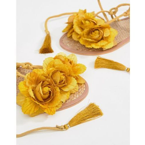 River island leather flower tassel tie up sandals - yellow