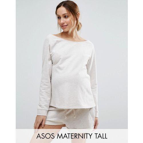 ASOS Maternity TALL LOUNGE Longline Oatmeal Marl Jersey Off Shoulder Sweatshirt - Beige