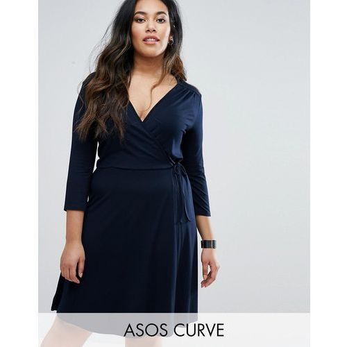 tie side long sleeve dress with plunge midi - navy, Asos curve