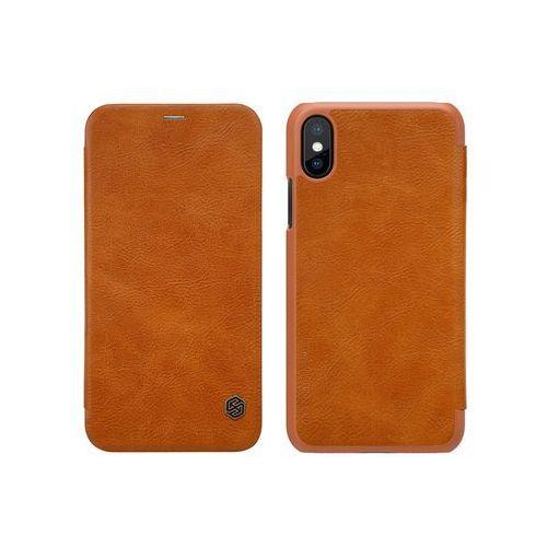 Apple iPhone XS - etui na telefon Nillkin Qin - brązowy, kolor brązowy