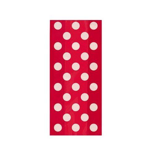 Unique Torebki prezentowe czerwone w białe kropki - 28,5 x 12,5 cm - 20 szt.