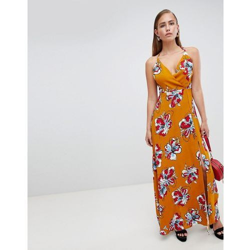 floral wrap maxi dress - yellow, Prettylittlething