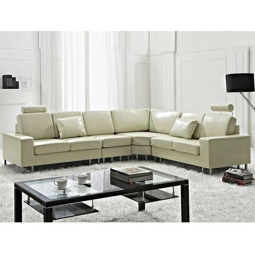 Beliani Stylowa sofa kanapa z beżowej skóry naturalnej narożnik stockholm