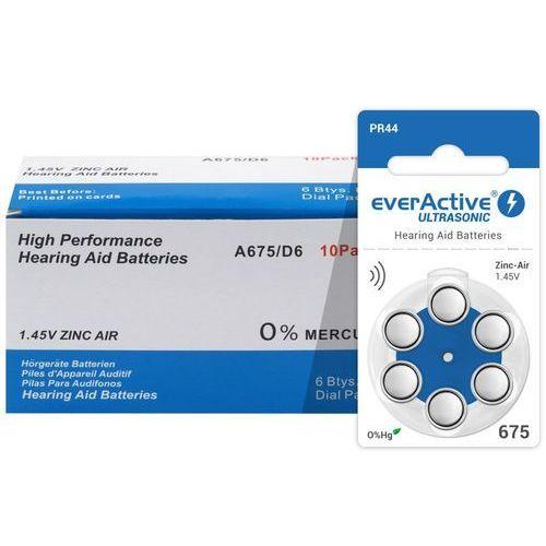 60 x baterie do aparatów słuchowych ultrasonic 675 marki Everactive