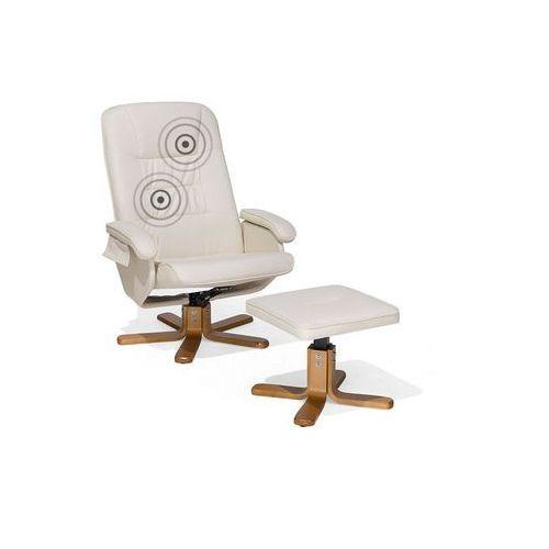 Fotel beżowy skóra ekologiczna funkcja masażu z podnóżkiem RELAXPRO (4260580934256)