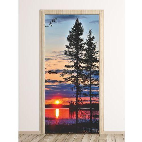 Wally - piękno dekoracji Fototapeta na drzwi zachód słońca nad jeziorem fp 6201