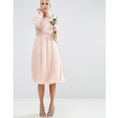ASOS WEDDING Midi Dress with Lace and Bow Detail - Pink, kolor różowy