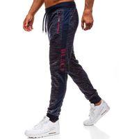 Spodnie męskie dresowe joggery granatowe denley hx069, Red fireball
