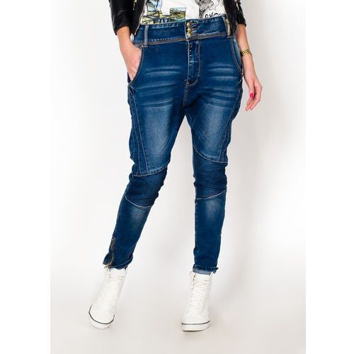 Jeansy zwężane z obniżonym krokiem XL+
