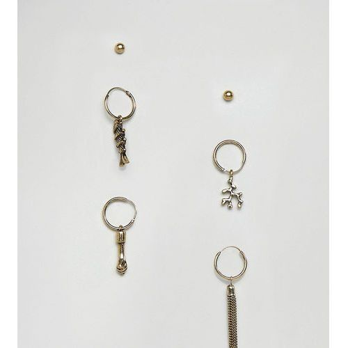 inspired hoop earring pack with charms exclusive at asos - gold marki Reclaimed vintage