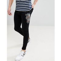 Brooklyn supply co muscle fit jeans with snake embroidery black - black, Brooklyn supply co.