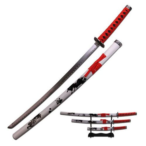 Usa Groźny zestaw białych mieczy samurajskich ze stojakiem sw-79-4