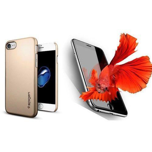 Zestaw | Spigen SGP Thin Fit Champagne Gold | Obudowa + Szkło ochronne Perfect Glass dla modelu Apple iPhone 7