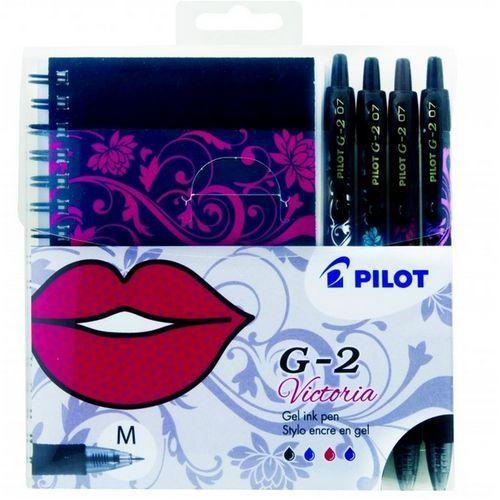 Długopis żelowy g2 victoria 4 kolory + zeszyt zestaw marki Pilot