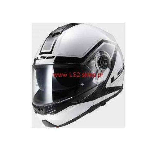 OKAZJA - KASK MOTOCYKLOWY LS2 SZCZĘKOWY FF325 STROBE CIVIK WHITE BLACK - kolor Biało-Czarny