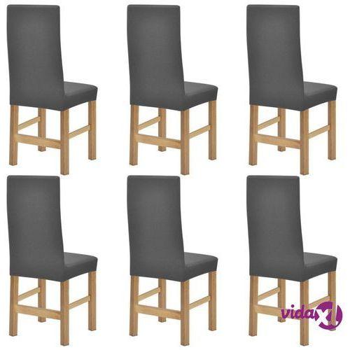 vidaXL Elastyczne pokrowce na krzesła, prążkowane, 6 szt., szare