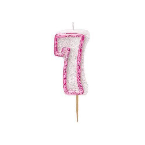 Brokatowa świeczka cyferka siódemka 7 różowa - 1 szt. marki Unique