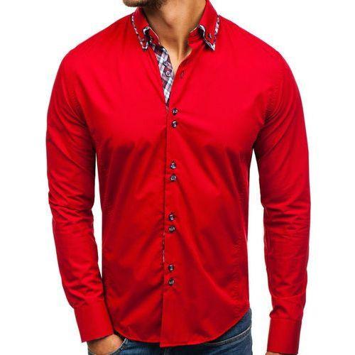 Koszula męska elegancka z długim rękawem czerwona 4704-1, Bolf