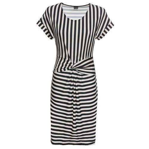 6fb6d88d5b Bonprix Sukienka z nadrukiem czarno-piaskowy w paski