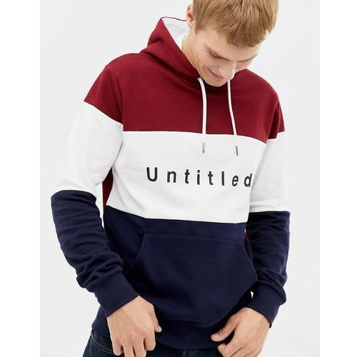hoodie with untitled print in colour block red - red marki Burton menswear