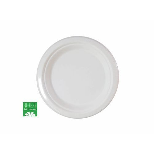 Eko talerzyki białe z trzciny cukrowej - 18 cm - 10 szt. marki Procos non-disney