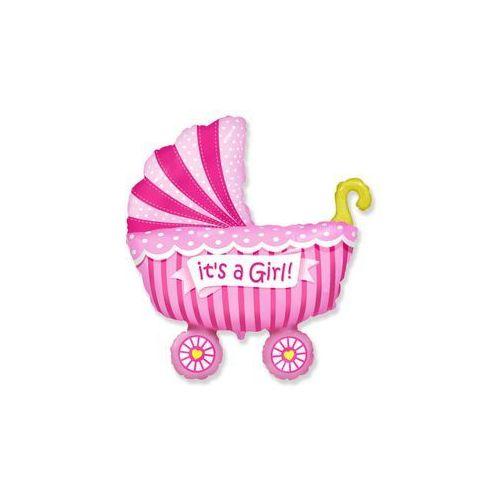 Balon foliowy do patyka - Wózek różowy - 37 cm - 1 szt.