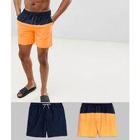 ASOS DESIGN Swim Shorts 2 Pack In Navy & Orange Cut & Sew In Mid Length Save - Multi