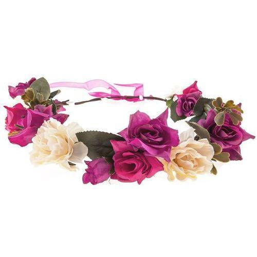 Iloko Wianek kwiaty i liście amarant i krem - amarant i krem