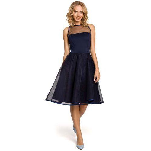 Granatowa Wieczorowa Sukienka z Prześwitującym Modnie Karczkiem, w 4 rozmiarach