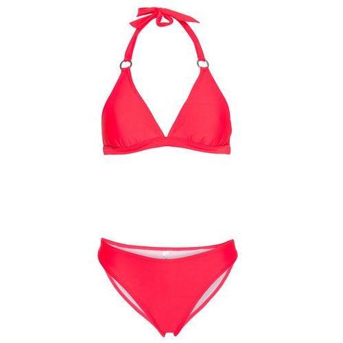 Bikini z ramiączkami wiązanymi na szyi (2 części) bonprix różowy neonowy, poliamid