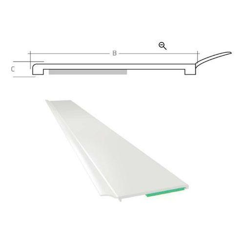 Listwa maskująca płaska samoprzylepna PCV B=40 mm gr. C=1,5 mm biała z uszczelką L=50 mb, PP10 025
