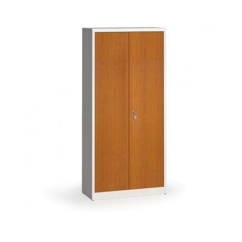 Szafy spawane z laminowanymi drzwiami, 1950 x 920 x 400 mm, RAL 7035/czereśnia
