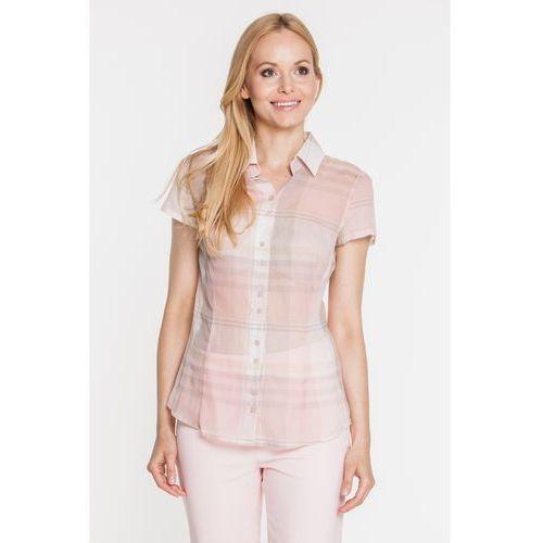 Koszulowa bluzka w pastelową kratkę - Duet Woman, kolor beżowy