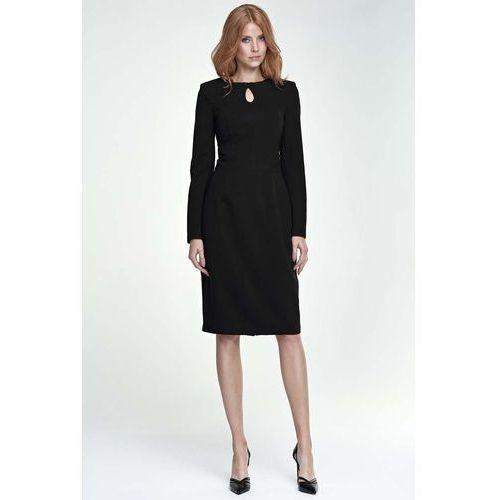 Czarna sukienka ołówkowa midi z łezką przy dekolcie marki Nife