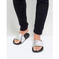 croc print slider flip flops in silver - silver marki Brave soul