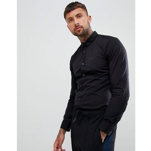 ero3 extra slim fit poplin logo shirt in black - black, Hugo, M-XXL