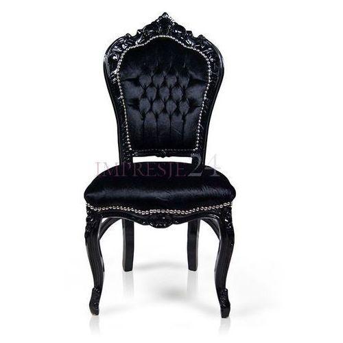 Krzesło dekoracyjne kair, czarna, drewniana rama, czarne, welurowe obicie. marki Design by impresje24